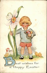 Best Wishes for a Happy Easter - Child with Chicks and Daffodil