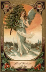 Loving Christmas Wishes - Angel Carrying Decorated Tree in the Snow