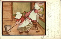 Sunbonnet Babies Mopping and Washing Windows