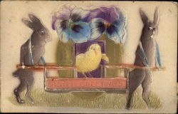 Easter Greetings - Embossed Bunnies Carrying Egg with Pansies and Chick