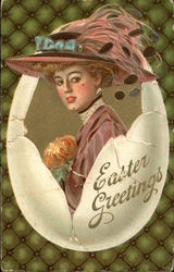 Easter Greetings - Woman in Large Plumed Hat inside Egg Shell
