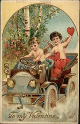 """To My Valentine"" - Two Cherubs Driving Car full of Hearts"