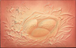 Easter Greeting - Embossed Eggs and Flowers