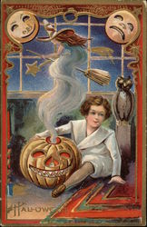 Witch coming out of jack-o-lantern held by child