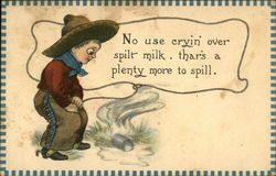 Child cowboy looking at glass of spilled milk
