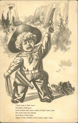 Drawing of boy dressed as cowboy, holding pistol