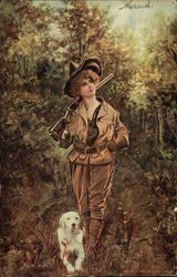 On the Trail - Woman Hunter with Dog