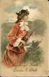 Woman Hunting with Gun & Dog