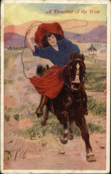 A Daughter of the West - Cowgirl with Lasso on Horseback