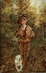 On the Trail - Woman Hunter with Gun & Dog