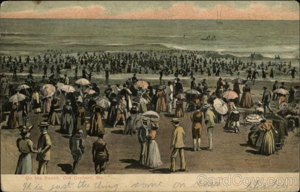Crowds on the Beach Old Orchard Beach Maine