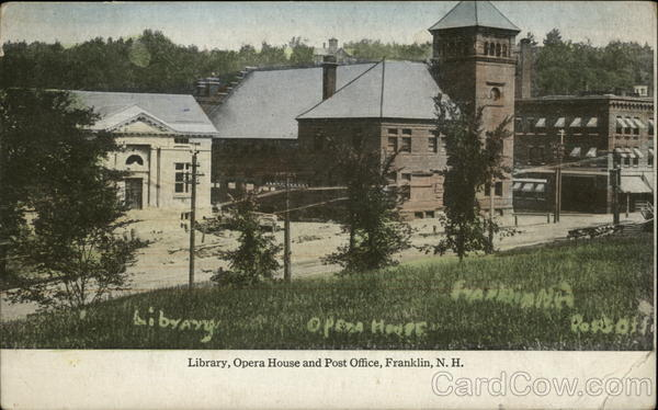 Library, Opera House and Post Office Franklin New Hampshire