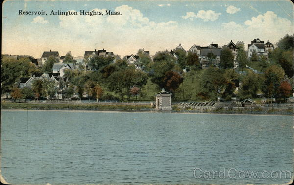 Water View of Reservoir and Residential Area Arlington Heights Massachusetts