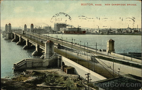 View of New Cambridge Bridge Boston Massachusetts