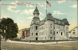 Rogers High School, Townsend Industrial School and City Hall Postcard