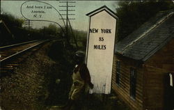 Milepost by the Railway - New York 85 Miles