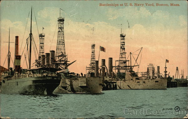 Battleships in U.S. Navy Yard Boston Massachusetts