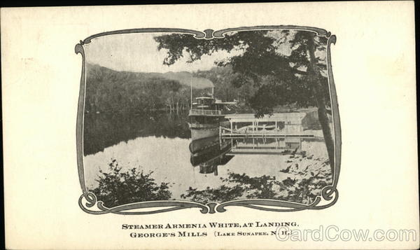 Steamer Armenia White at Landing, George's Mills Lake Sunapee New Hampshire