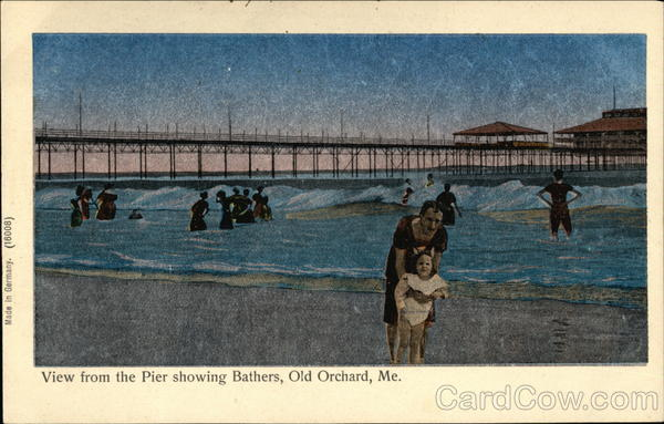 View from the Pier Showing Bathers Old Orchard Beach Maine