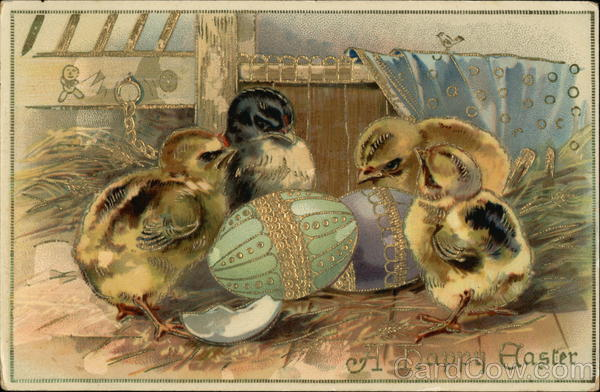 A Happy Easter with Baby Chicks and Embellished Eggs