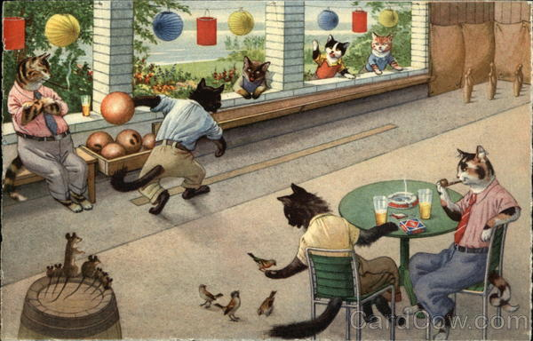 Anthropomorphic Cats Bowling