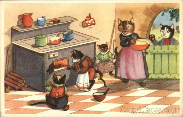 Cats Dressed in Clothing Cooking on a Wood Stove