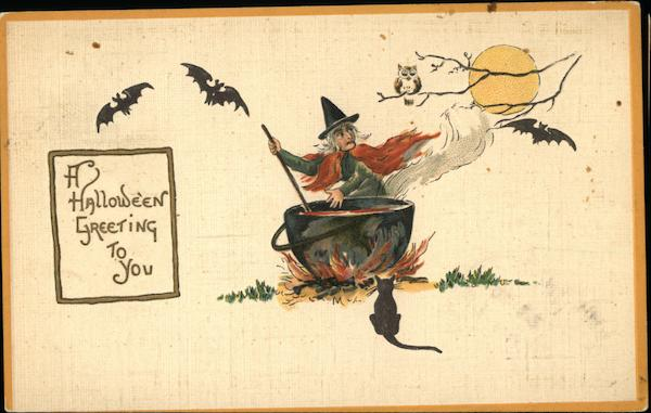 A Halloween Greeting to You with Witch, Bats, and Black Cat
