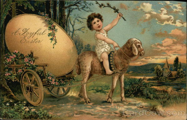 A Joyful Easter with Child Riding Lamb pulling Cart