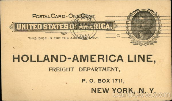 Holland-America Line Freight Notice Boats, Ships