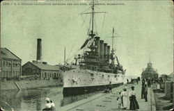 U.S. Cruiser Charleston Entering the Dry-Dock