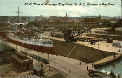 B.E. View of Brooklyn Navy Yard, U.S.S. Indiana in Dry Dock