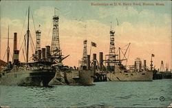 Battleships in U.S. Navy Yard