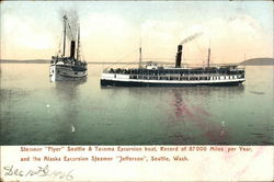 Steamer Flyer Seattle & Tacoma Excursion Boat, Record of 87000 Miles Per Year