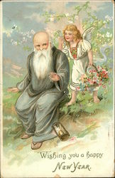 Wishing You a Happy New Year with Angel and Father Time