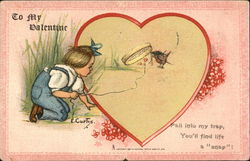 Valentine With Boy Trying To Catch Bird In Trap
