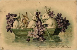 Loving Easter Wishes - With Bunnies in a Row Boat