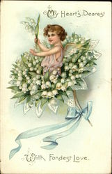 Cupid on Lily of the Valley Bouquet