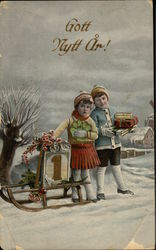 Two Children With Sled in Snow