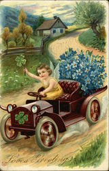 Loves greetings-An angel riding a car with flowers