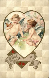 A Gift of Love with Cherubs, Butterfly and Heart