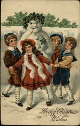 Loving Christmas Wishes with Snowman and Children