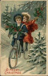 A Merry Christmas with Children Biking in the Snow
