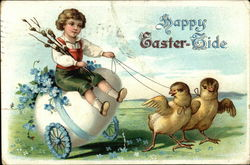 Happy Easter-Tide with Egg Cart, Boy and Chicks