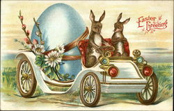 Easter Greeting with Bunnies Hauling Large Egg in a Car