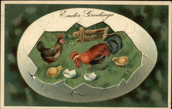 Easter Greetings with Chickens and Cracked Eggs