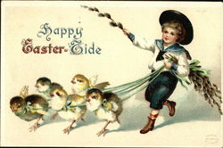 Happy Easter-Tide with Chicks and Young Boy