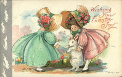 Wishing You Easter Joy with Sunbonnet Girls and Bunny