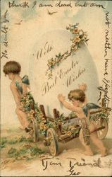 With Best Easter Wishes - Cherubs hauling large egg in cart