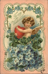 To My Valentine-heart,cupid and flowers