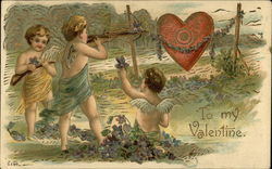 To My Valentine with Cupids and Heart Target